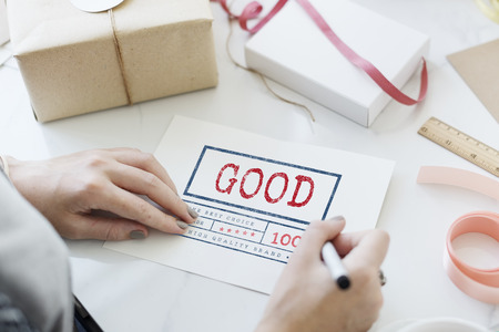 satisfying: Good Excellent Lucky Satisfying Optimistic Concept Stock Photo