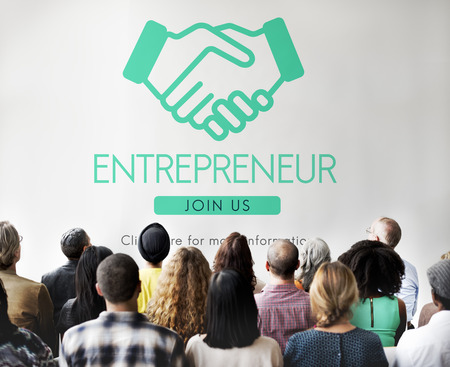 casual business team: Entrepreneur Business Venture Handshake Graphic