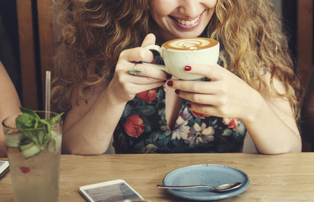 refreshment: Woman Drinking Coffee Breakfast Refreshment Concept Stock Photo