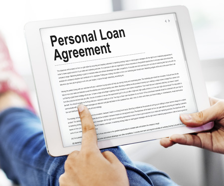 loaning: Personal Loan Agreement Banking Credit Contract Concept