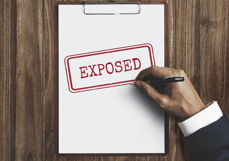 Exposed Disclosed Declarative Indicative Relating Concept Stock Photo