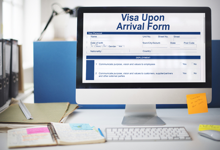 Visa upon arrival form in a monitor