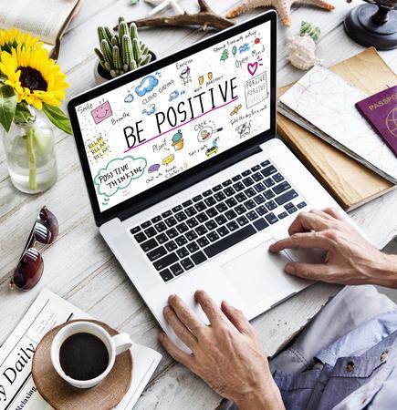 positivity: Positivity Message Cartoon Illustrations Concept