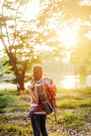 backpacker: Backpacker Casual Travel Tourist Carefree Nature Concept