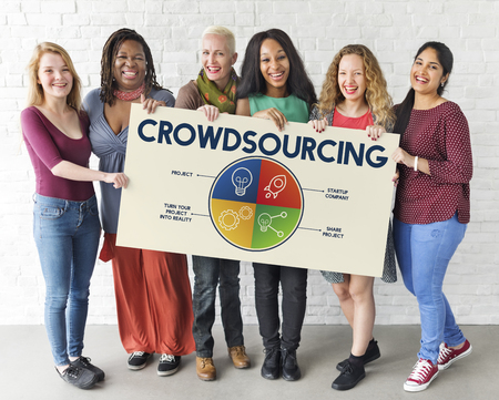 People with crowd sourcing concept Stock Photo