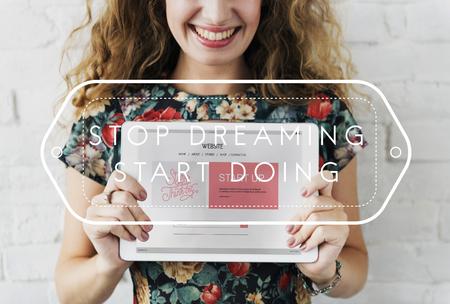 website words: Technology Website Digital Tablet Woman Words Concept Stock Photo