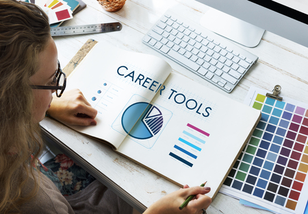 Book with career tools concept