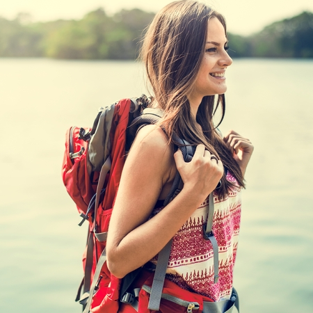 carefree: Backpacker Casual Travel Tourist Carefree Nature Concept