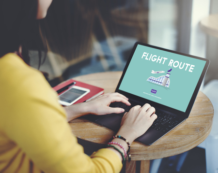 airplane take off: Flight Route Business Trip Flights Travel Concept Stock Photo