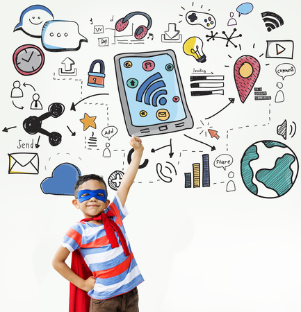 Kids Technology  Communication Social Media Graphic Concept