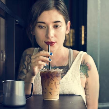 coffeeshop: Woman Coffeeshop Drink Relaxation Tattoo Concept Stock Photo