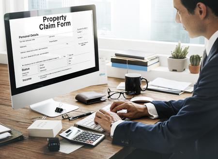 purchase order: Reivindicación de la propiedad Formulario Hoja de sueldo Concepto Orden de Compra Foto de archivo
