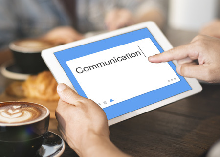caffeinated: Communication Social Network SMS Window Concept Stock Photo