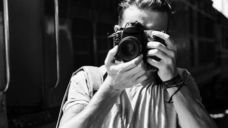 dslr: Photographer Camera DSLR Shooting Journalist Concept