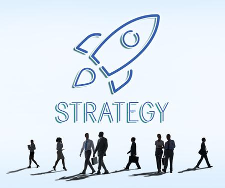 rush hour: Business Goals Rocketship Target Concept Stock Photo