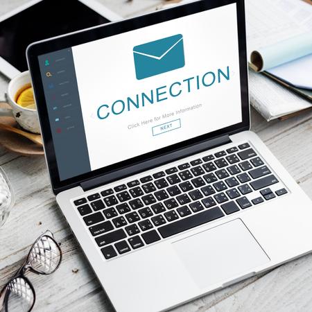 non verbal communication: Connection Messaging Contact Envelope Online Concept