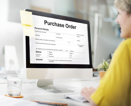 orden de compra: Purchase Order Form Payslip Concept Foto de archivo