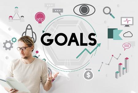 aspiration: Goals Aim Aspiration Believe Dreams Expectations Concept