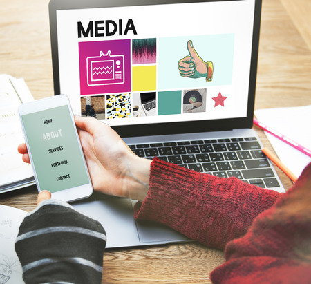 mass storage: Media Digital Information Internet Social Online Concept