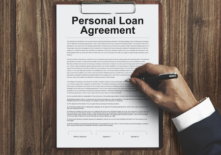 personal banking: Personal Loan Agreement Banking Credit Contract Concept