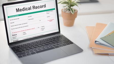 Concepto Paciente Formulario de Informe Médico Historial Foto de archivo