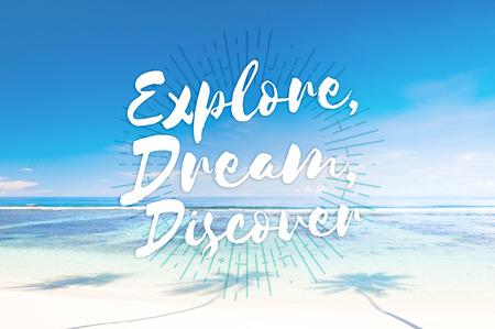 Explore Dream Discover Journey Trip Destination Traveling Adventure Concept Stock Photo