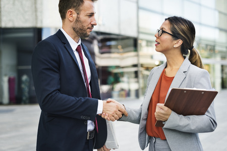 mangement: Handshake Greeting Corporate Business People Concept
