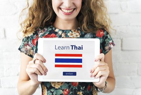 태국어 언어 온라인 교육 개념 배우기 스톡 콘텐츠