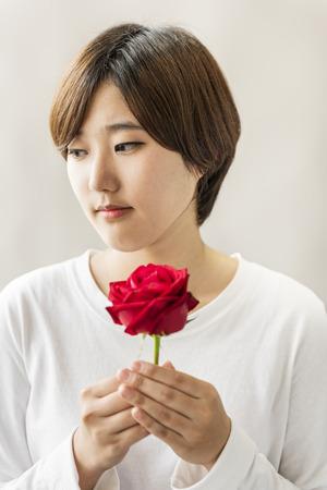 Asian Girl Flower Freshness Relaxation Rose Concept Imagens