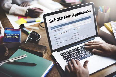 scholarship: Scholarship Application Document Contract Form Concept Stock Photo