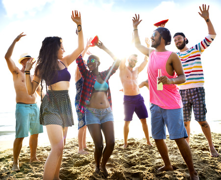 Diverse Young People Fun Beach Concept Stock Photo