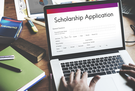 Scholarship Application Document Contract Form Concept Stockfoto