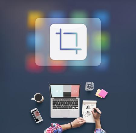 editing: Crop Adjust Design Resize Trim Editing Graphic Concept Stock Photo