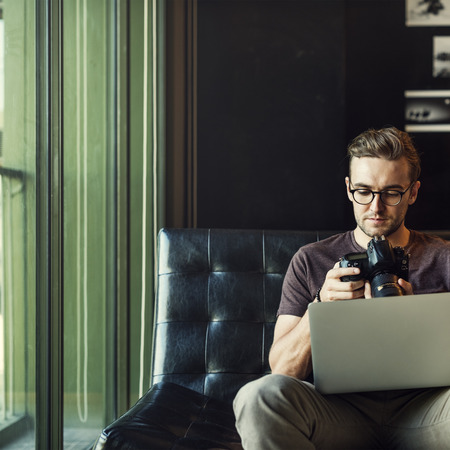 editing: Man Busy Photographer Editing Home Office Concept