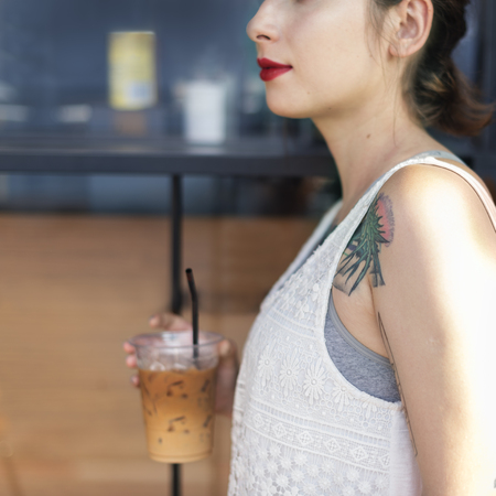 Woman Coffeeshop Drink Relaxation Tattoo Concept Stock Photo