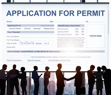 and authority: Formulario de solicitud de Permiso Autoridad Concept Foto de archivo