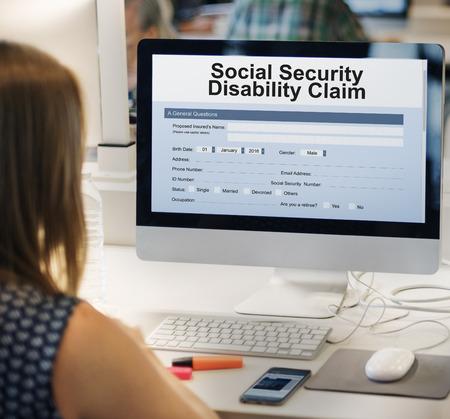 online service: Social Security Disability Claim Concept