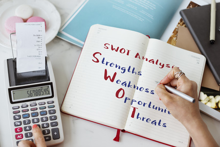 swot analysis: Swot Analysis Strengths Weakness Concept Stock Photo