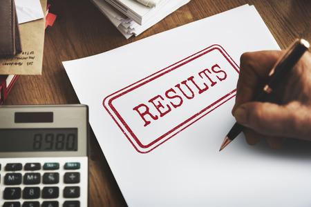 outcome: Results Evaluate Progress Outcome Productivity Concept Stock Photo