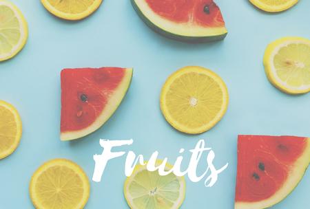 healt: Watermelon Orange Healthy Fresh Fruits Words Concept