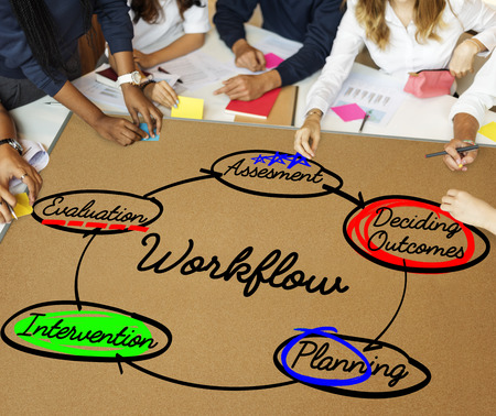 outcomes: Workflow Process Action Plan Diagram Concept Stock Photo
