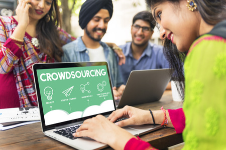 crowdsourcing: Crowdfunding Startup Business Crowdsourcing Cooperation Graphic Concept