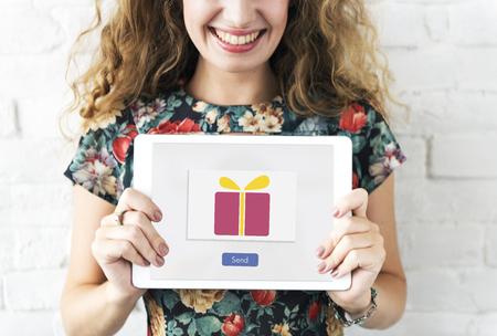 surprise box: Send Present Gift Box Surprise Concept Stock Photo
