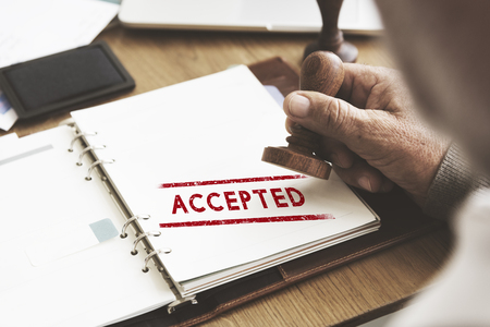 accepted: Accepted Approve Authorised Certified Decision Concept Stock Photo