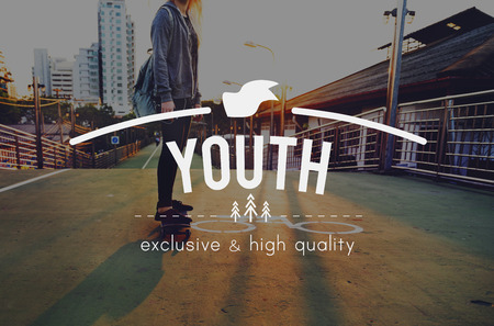 youthfulness: Youth Jourhey Young Words Carefree Skateboard Graphic Concept