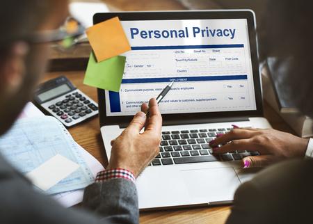 Personal de privacidad Información de datos Concepto formulario de solicitud