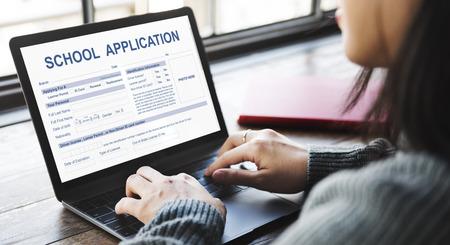 school form: School Application Form Academic Concept