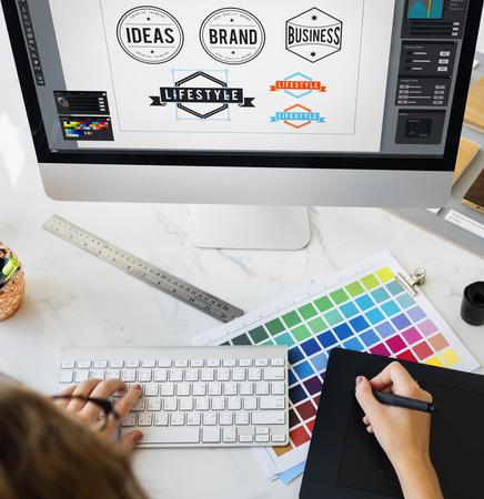 Ideen Kreativ-Beruf Design Studio Zeichnung Startup-Konzept Standard-Bild - 63710407
