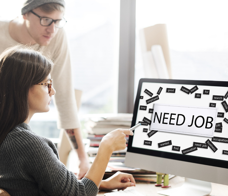 place of employment: Need job Applicant Career Hiring Recruitment Concept Stock Photo