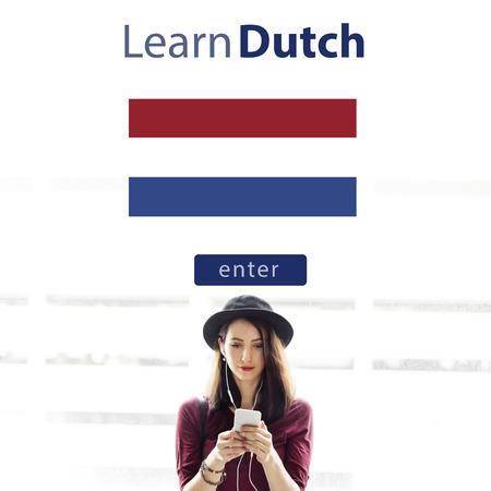 dutch: Learn Dutch Language Online Education Concept Stock Photo